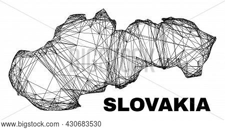 Net Irregular Mesh Slovakia Map. Abstract Lines Form Slovakia Map. Wire Carcass Flat Net In Vector F