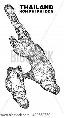Wire Frame Irregular Mesh Koh Phi Don Map. Abstract Lines Form Koh Phi Don Map. Wire Frame Flat Net