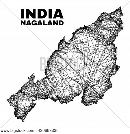 Net Irregular Mesh Nagaland State Map. Abstract Lines Are Combined Into Nagaland State Map. Wire Car