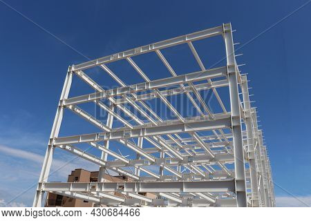 Iron Structure. Assembly Of Iron Structure For Shed In City In Brazil, South America With Bottom-up
