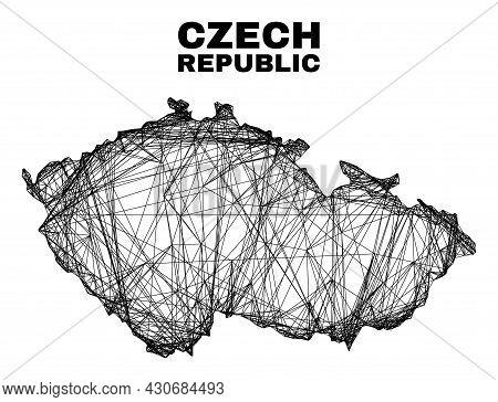 Carcass Irregular Mesh Czech Republic Map. Abstract Lines Form Czech Republic Map. Wire Carcass 2d N