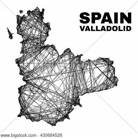 Wire Frame Irregular Mesh Valladolid Province Map. Abstract Lines Form Valladolid Province Map. Wire