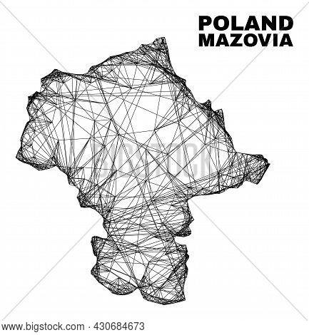 Net Irregular Mesh Mazovia Province Map. Abstract Lines Form Mazovia Province Map. Linear Carcass Fl