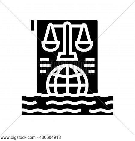 Ocean And Law Of Sea Social Problem Glyph Icon Vector. Ocean And Law Of Sea Social Problem Sign. Iso