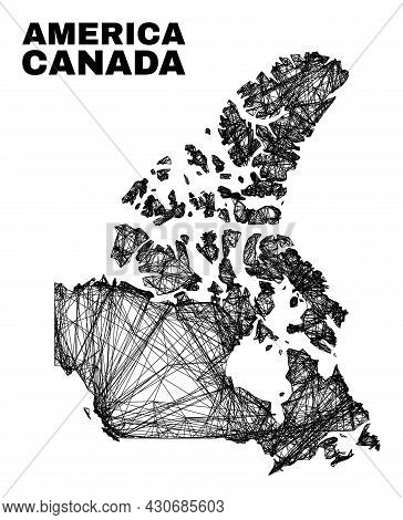 Net Irregular Mesh Canada V2 Map. Abstract Lines Are Combined Into Canada V2 Map. Wire Carcass 2d Ne