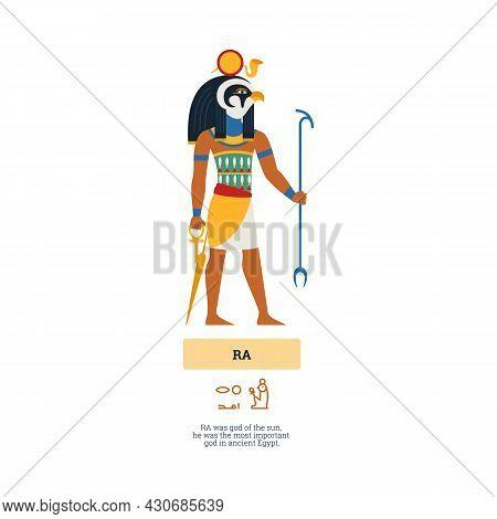 Ancient Egyptian God Ra Deity Of The Sun, Flat Vector Illustration Isolated.
