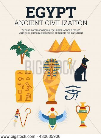 Egyptian Ancient Civilization Art Banner Or Poster, Flat Vector Illustration.