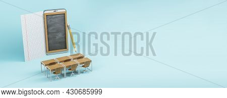 Wide Chalkboard Screen Mobile Phone, Wooden Desk And Chairs On Blue Background With Blank Paper Shee