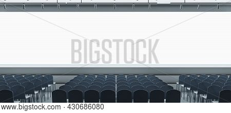 Panoramic Grey Auditorium With Seating And Empty Screen With Mock Up Place For Your Advertisement. S
