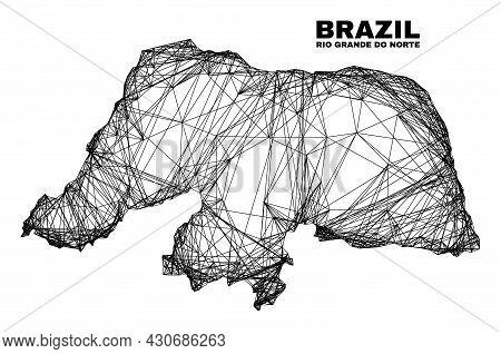 Carcass Irregular Mesh Rio Grande Do Norte State Map. Abstract Lines Form Rio Grande Do Norte State