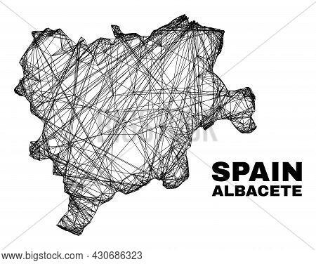 Wire Frame Irregular Mesh Albacete Province Map. Abstract Lines Form Albacete Province Map. Linear F