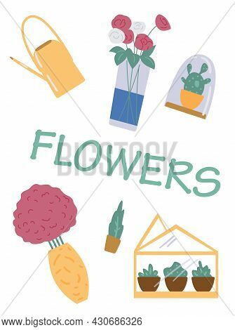 Floristic Banner With Garden And Floristry Items, Flat Vector Illustration.