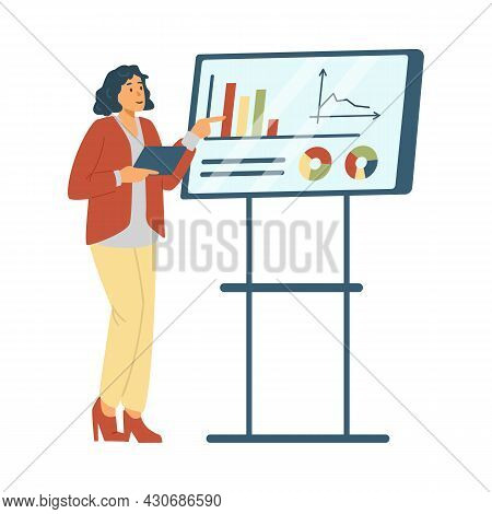 Business Woman Presenting Her Idea On Whiteboard In Flat Vector Illustration