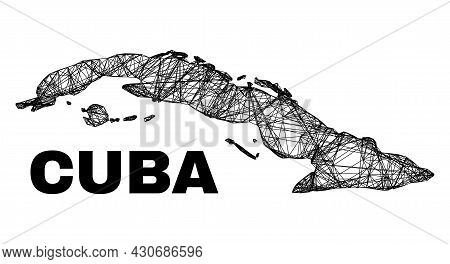 Network Irregular Mesh Cuba Map. Abstract Lines Form Cuba Map. Wire Carcass 2d Network In Vector For
