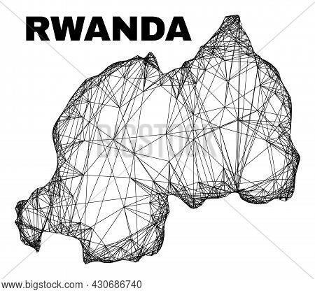 Wire Frame Irregular Mesh Rwanda Map. Abstract Lines Are Combined Into Rwanda Map. Wire Frame Flat N