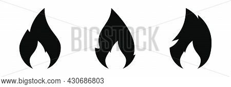 Fire Flame Icons Set. Campfire In Black. Fire Flame Symbol.