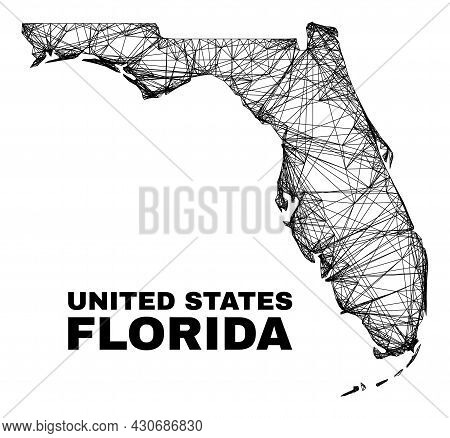 Carcass Irregular Mesh Florida State Map. Abstract Lines Are Combined Into Florida State Map. Linear