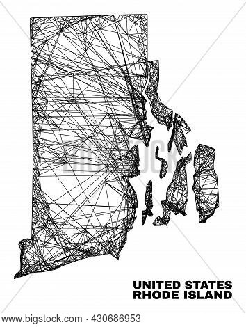 Wire Frame Irregular Mesh Rhode Island State Map. Abstract Lines Are Combined Into Rhode Island Stat