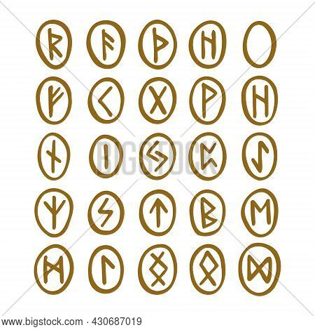 Scandinavian Magic Runes. Fortune Teller, Prediction. Witchcraft Tool. Golden Coloured  Ink Illustra