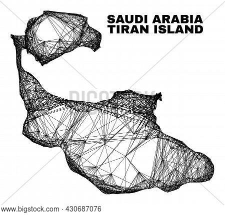 Wire Frame Irregular Mesh Tiran Island Map. Abstract Lines Form Tiran Island Map. Wire Frame Flat Ne
