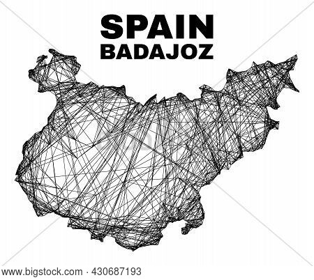 Carcass Irregular Mesh Badajoz Province Map. Abstract Lines Are Combined Into Badajoz Province Map.