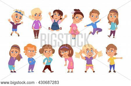Emotional Kids. Cartoon Children, Teenager Laughing And Sad. Happy Emotion On Face, Smile Or Cry Boy