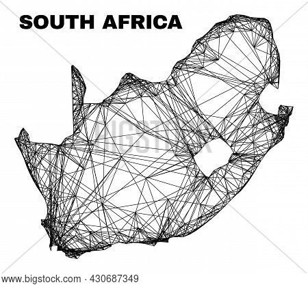 Wire Frame Irregular Mesh South African Republic Map. Abstract Lines Form South African Republic Map