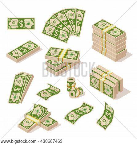 Cartoon Bills Money. Dollar Cash, Abundance Dollars In Pile And Fan. Banknote Stack, Banking Or Pros