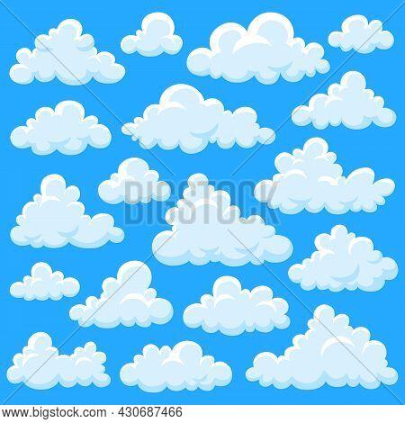 White Cartoon Clouds. Fluffy Cloud, Overcast Elements Fly On Blue Sky. Smoke Shapes, Summer Heaven O