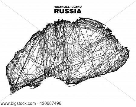 Net Irregular Mesh Wrangel Island Map. Abstract Lines Form Wrangel Island Map. Wire Carcass Flat Net