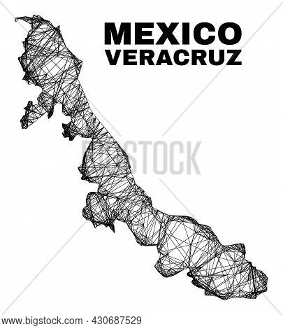 Wire Frame Irregular Mesh Veracruz State Map. Abstract Lines Are Combined Into Veracruz State Map. W