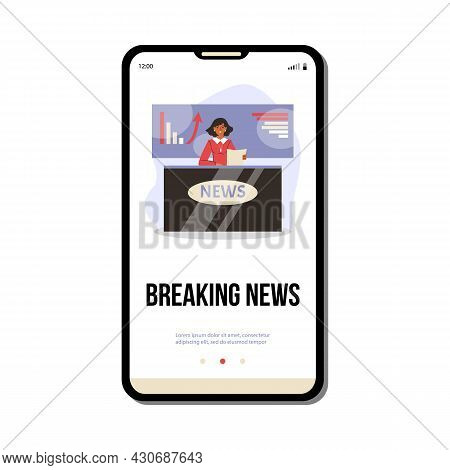 Mobile Phone Screen With Live Broadcasting Breaking Economic News From Tv Studio