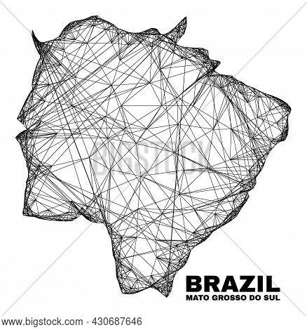 Net Irregular Mesh Mato Grosso Do Sul State Map. Abstract Lines Form Mato Grosso Do Sul State Map. L