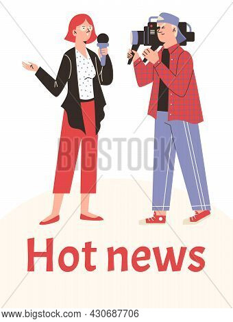 Female Journalist And Professional Cameraman Live Broadcasting Tv Hot News.