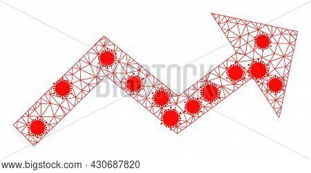 Mesh Growing Trend Arrow Polygonal 2d Vector Illustration, With Infection Nodes. Carcass Model Is Ba
