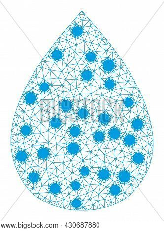 Mesh Water Drop Polygonal Icon Vector Illustration, With Coronavirus Items. Model Is Based On Water