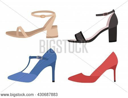 Shoes. Various Types Footwear, Womens Trendy Casual, Stylish Elegant And Formal Shoes. Summer Sandal