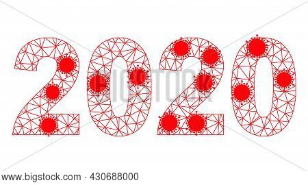 Mesh 2020 Year Digits Polygonal Icon Vector Illustration, With Virus Centers. Carcass Model Is Based