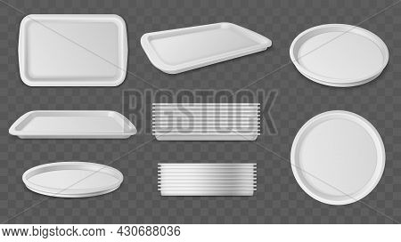Round And Square Trays. Realistic Plastic Serving Tray, Different Angles View, Single Objects And St