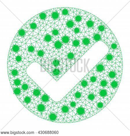 Mesh Yes Mark Polygonal Icon Vector Illustration, With Infectious Items. Carcass Model Is Based On Y