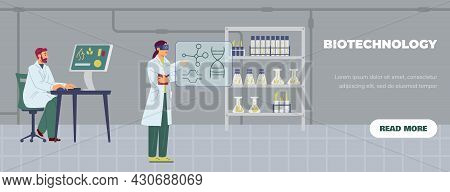 Biotechnology Laboratory With Working Scientists, Flat Vector Illustration.