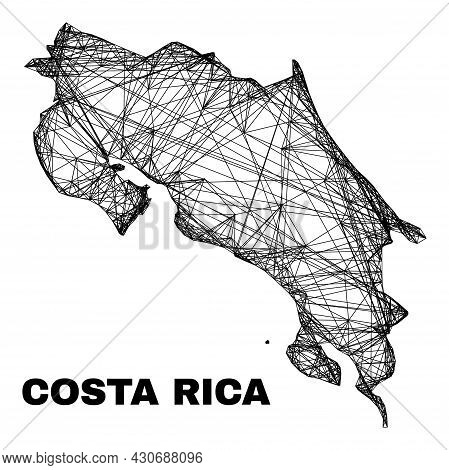Wire Frame Irregular Mesh Costa Rica Map. Abstract Lines Form Costa Rica Map. Wire Frame Flat Net In