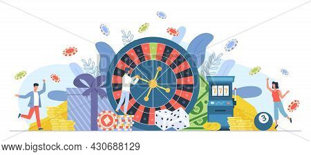 Casino Gambling People. Man And Woman Playing Roulette. Big Win On Fortune Wheel. Cartoon Players Hi