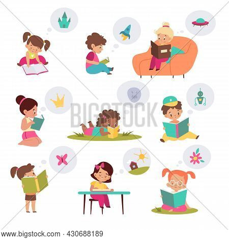 Children With Books. Reading Kids, Imagination Developing With Fairy Tales Help, Curious Girls And B