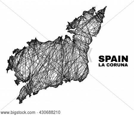 Carcass Irregular Mesh La Coruna Province Map. Abstract Lines Are Combined Into La Coruna Province M