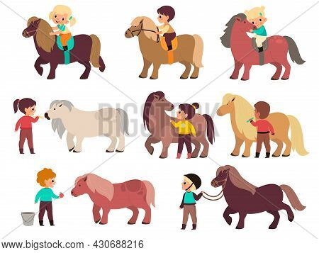 Kids Horses. Cute Children And Little Ponies Characters, Boys And Girls Rides, Young Jockeys And Sma