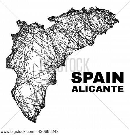 Wire Frame Irregular Mesh Alicante Province Map. Abstract Lines Form Alicante Province Map. Wire Car