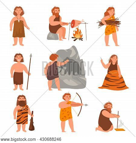 Stone Age People. Ancient Cute Men And Women Cook, Sew Clothes From Skins, Hunt, Produce Fire In Pri