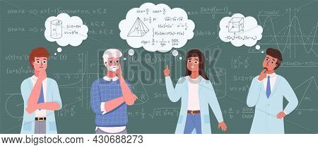 People Study Math. Scientists On Blackboard Background With Mathematical Formulas And Schemes. Carto