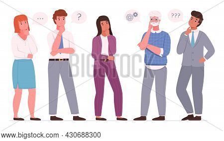 Thoughtful Business People. Office Employees Team Men And Women Thinking Poses, Resolving Work Issue